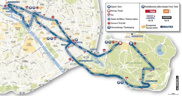 Tracé du semi marathon de Paris 2011