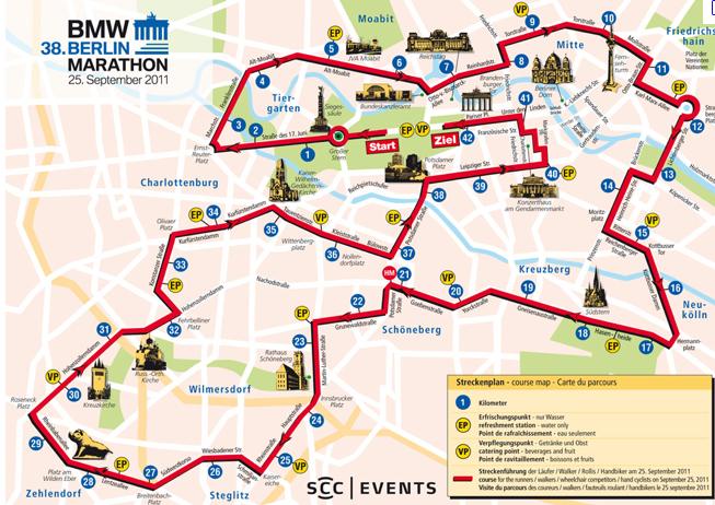 parcours marathon de Berlin 2011