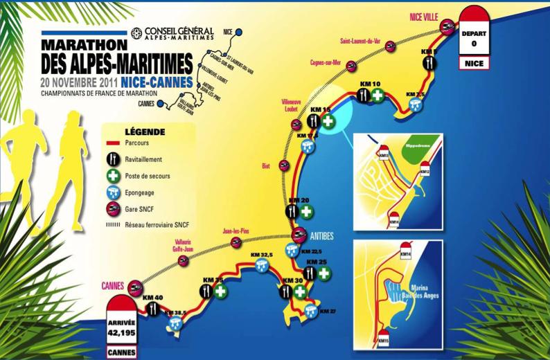 parcours marathon nice-cannes 2011