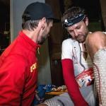 François D'Haene, vainqueur UTMB 2014  et Jean-Michel Faure-Vincent photo Damien Rosso www.droz-photo