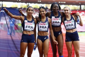 France's relay team Raharolahy Guei Hurtis and Gayot celebrate winning women's 4 x 400 metres final at European Athletics Championships in Zurich