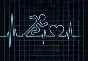 Heartbeat make running man symbol stock vector